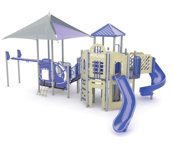 Blue Police Playground Slide