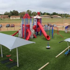 Blue and Red Outdoor Playground