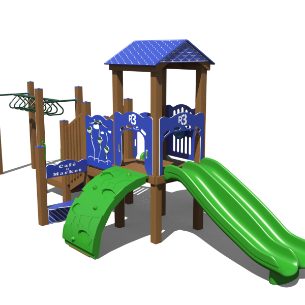 Green Wood Playground Slide