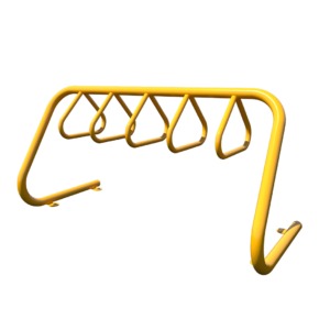 Yellow Triangular Hoop Bike Rack