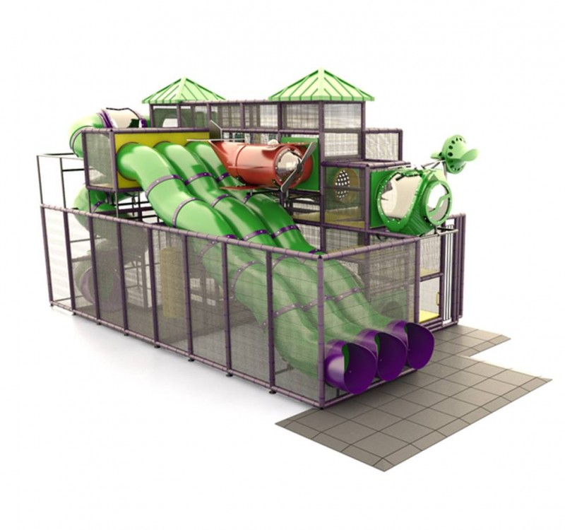 Indoor Green Tube Slides