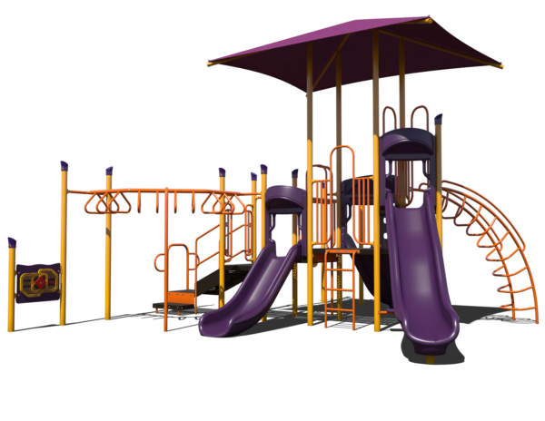 steel commercial playground with shade