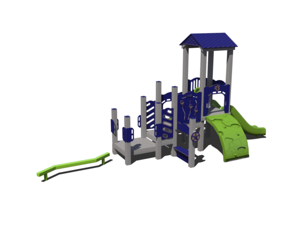 recycled playground with roof and balance beam