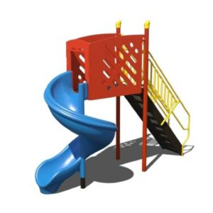 freestanding open spiral slide for commercial playgrounds