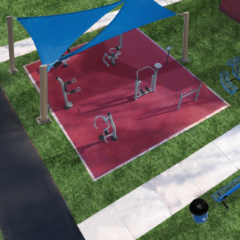 outdoor adult fitness park with shade